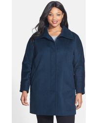 Ellen Tracy - Fly Front Wool Blend Topper (plus Size) - Lyst