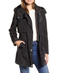 Via Spiga Packable Hooded Raincoat, Black