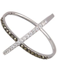 Judith Jack - Sterling Silver Swarovski Pave Cross Band Ring - Size 8 - Lyst