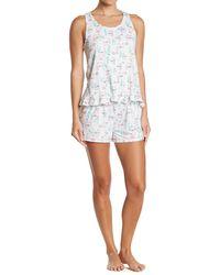 Kensie Patterned Tank & Short 2-piece Pajama Set - White