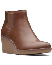 Clarks - Hazen Flora Leather Wedge Bootie - Lyst