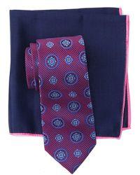Ted Baker Silk Textured Medallion Tie & Pocket Square Set - Pink