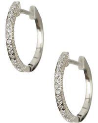 Meira T - 14k White Gold Diamond Hoop Earrings - 0.11 Ctw - Lyst