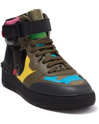 Valentino Camo Leather High Top Sneaker - Green