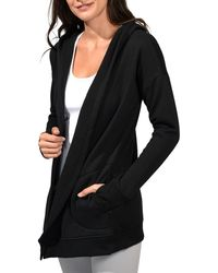 90 Degrees Heavy Fleece Open Front Cardigan - Black
