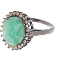 Adornia Floral Halo Light Emerald Diamond Halo Ring - Green