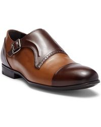 Bacco Bucci Pinelli Cap Toe Leather Monk Strap Loafer - Brown