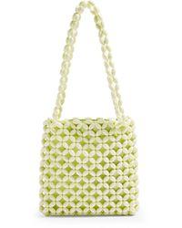 TOPSHOP Saga Lime Beaded Tote Bag - Yellow