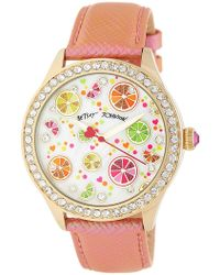 Betsey Johnson | Women's Citrus Party Crystal Embossed Leather Watch | Lyst