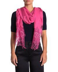 Valentino Lace Trim Shawl - Pink