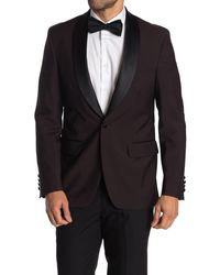 Strong Suit Purple Solid One Button Shawl Lapel Dinner Jacket - Black