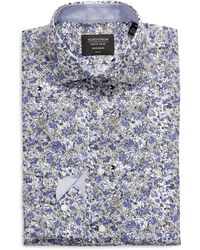 Nordstrom Nordstrom Trim Fit Floral Non-iron Dress Shirt - Blue