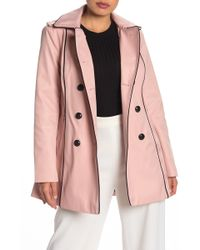 Guess Double Breasted Hooded Trench Coat - Pink