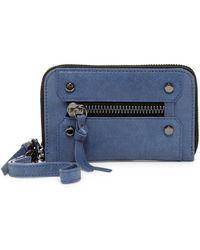 Botkier Logan Small Leather Zip Wallet - Blue