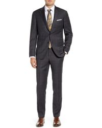 Hickey Freeman Modern H Fit Plaid Wool Suit - Gray