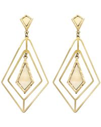 Panacea Mother Of Pearl Diamond Shape Drop Earrings - White