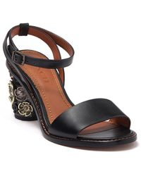 COACH Tea Rose Embellished Block Heel Sandal - Black