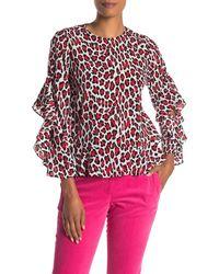 Robert Rodriguez Lena Leopard Print Ruffle Sleeve Blouse - Red