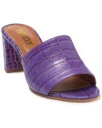Paris Texas Open Toe Croc Embossed Mule - Purple