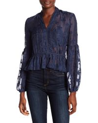 Romeo and Juliet Couture - Star Print Sheer Hi-lo Blouse - Lyst