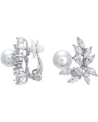 CZ by Kenneth Jay Lane - 8mm Pearl & Marquise Cut Cz Cluster Clip-on Earrings - Lyst