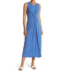 T Tahari Front Twist Crew Neck Sleeveless Maxi Dress - Blue