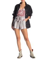 Angie Tie Front Stripe Print Shorts - Gray