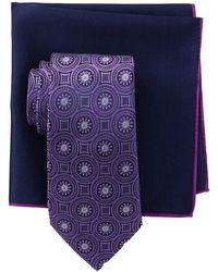 Ted Baker Silk Tonal Medallion Tie & Pocket Square Set - Purple