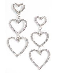 BP. Rhinestone Heart Statement Earrings In Silver At Nordstrom Rack - Metallic
