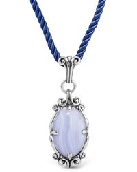 Relios Sterling Silver Blue Lace Agate Pendant Blue Cord Necklace