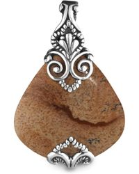 Relios Sterling Silver Scroll Accented Brown Jasper Teardrop Pendant