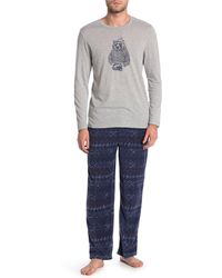 Lucky Brand Printed Shirt & Pants 2-piece Pajama Set - Blue