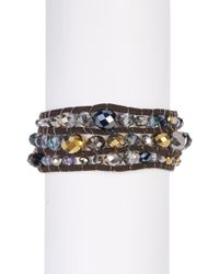 Jessica Simpson - Multi-layer Beaded Faux Suede Wrap Bracelet - Lyst