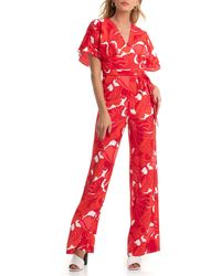 Trina Turk Formation Floral Print Jumpsuit - Red