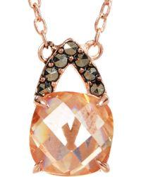 Judith Jack - Rose Gold Plated Sterling Silver Swarovski Marcasite & Cz Pendant Necklace - Lyst