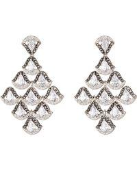 Judith Jack - Sterling Silver Crystal, Cz, & Swarovski Marcasite Chandelier Earrings - Lyst