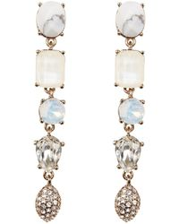 Jenny Packham | Prong Set Faceted Stone & Pave Linear Drop Earrings | Lyst