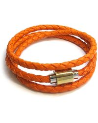 Liza Schwartz Original Triple Wrap Premium Orange Leather Bracelet
