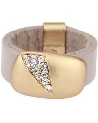 Saachi - Taupe Sliced Crystal Leather Ring - Lyst