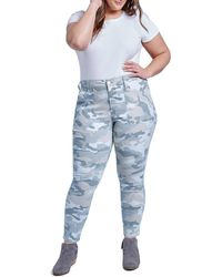 Seven7 High Waisted Camo Utility Jeans - Blue
