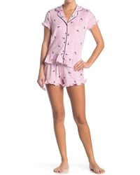 Jane And Bleecker Stripe & Ruffle Top & Short 2-piece Pajama Set - Pink