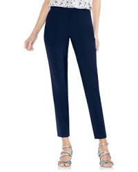 Vince Camuto - Side Zip Double Weave Stretch Cotton Pants - Lyst
