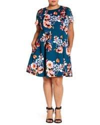 Vince Camuto - Floral Print Fit & Flare Dress (plus Size) - Lyst