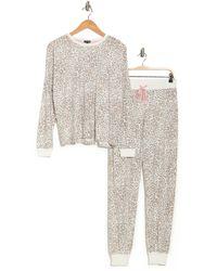 Cozy Zoe Long Sleeve Printed Pajama Set - White