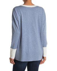 Kinross Cashmere Colorblock Knit Sweater - Blue