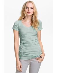 Caslon - Shirred V-neck Tee - Lyst