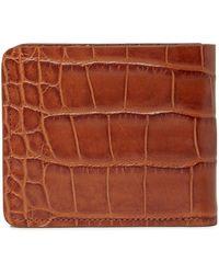 Trask Jackson Croc Embossed Leather Slim Bifold Wallet In Scotch At Nordstrom Rack - Brown