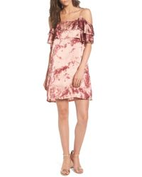Mimi Chica - Print Off The Shoulder Satin Dress - Lyst