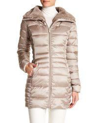 Save The Duck - Long Fur Collar Iridescent Coat - Lyst