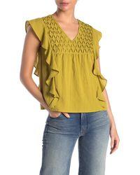 Cliche Ruffle Sleeve Woven Shirt - Metallic